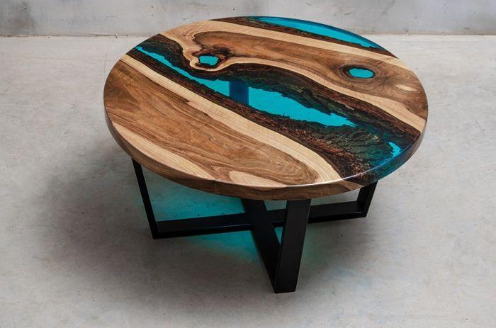 tisch mit epoxidharz außergewöhnliche möbelstücke runder holztisch