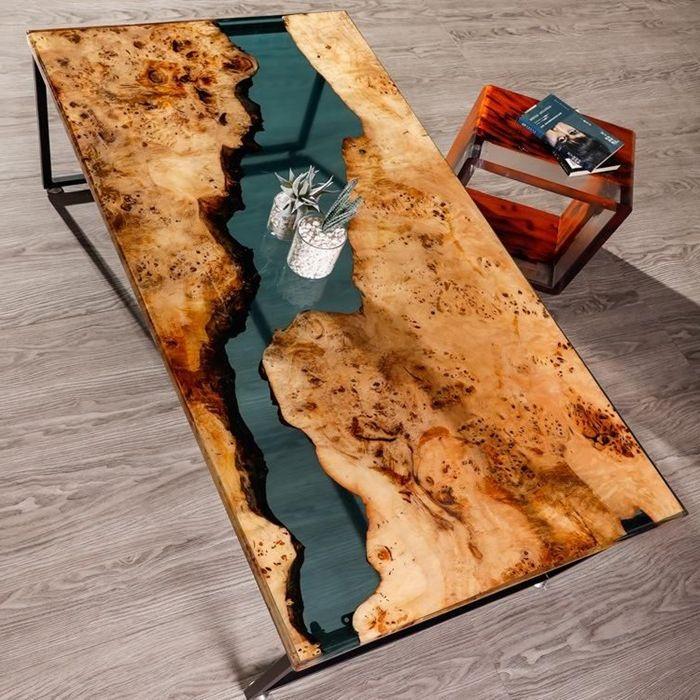 tisch mit epoxidharz schreibtisch aus epoxidharz und holz exklusive möbelstücke