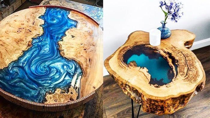 tisch mit harz selber bauen massviholztisch mit epoxidharz dekorieren