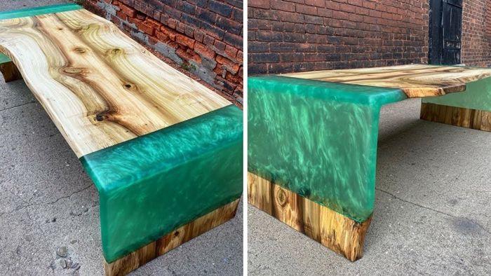 tisch mit harz selbst bauen epoxidharztisch massivholztisch ideen und designs