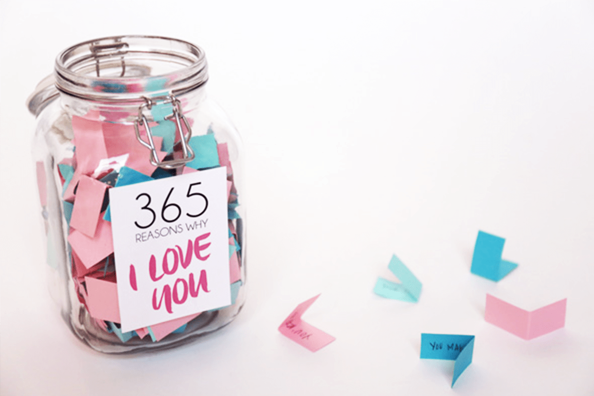 valentinstag geschenke für männer selber machen valentinsgeschenk für ihn romantische geschenke selber machen einmachglas 365 gründe dich zu leben notizen