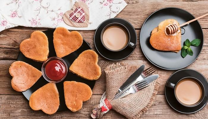 breakfast in a rustic style of punk hearts. romantic breakfast