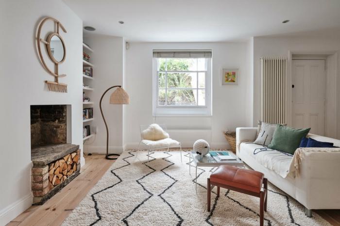 was bedeutet hochparterre souterrain fenster wohnzimmer kellrraum gestalten weiße möbel teppich kamine standlampe