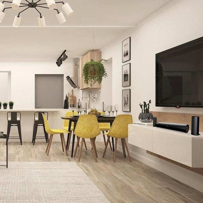 was ist souterrain souterrain definition kellerraum gestalten wohnzimmer küche esstisch gelbe stühle fernseher