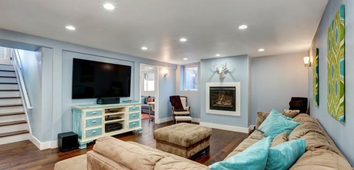 was ist souterrain souterrain definition wohnzimmer im keller hellblau weiß ledersofa fernseher lcd hell licht