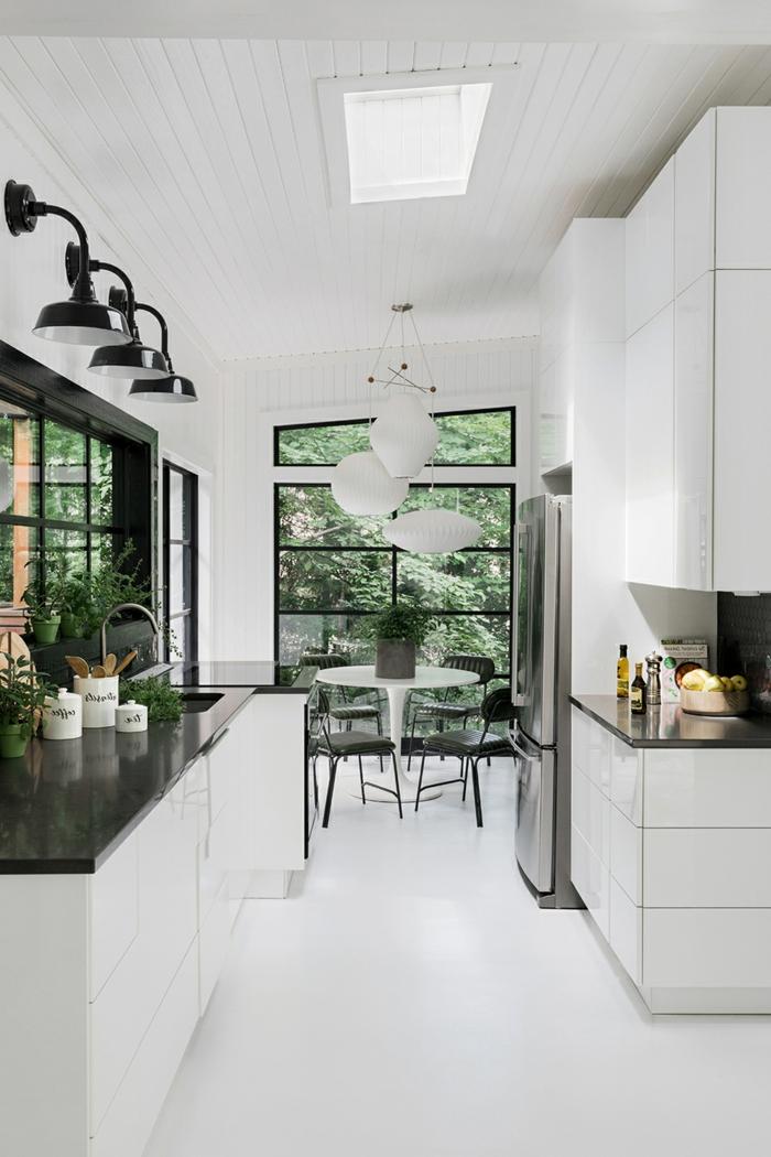 weiß schwarze küche modern einrichten kreative ideen beleuchtung velux fenstergrößen grüne pflanzen dekoration