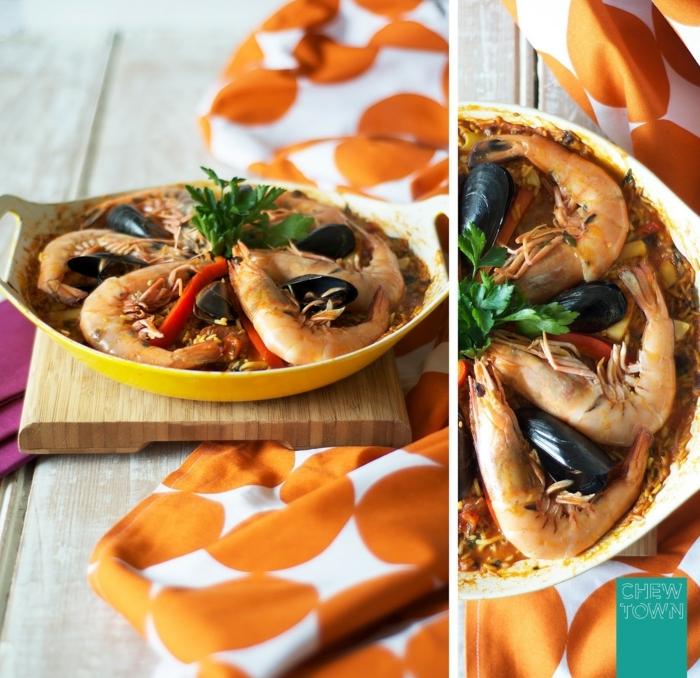 weißes küchentuch mit orangen kreisen mallorquinische paella rezept mit meeresfrüchten ideen abendessen inspo leckere speisen