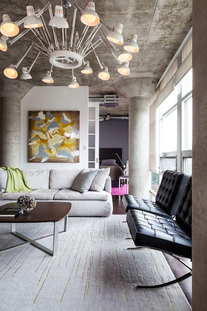 wohnzimmer decke gestalten industrial stil einrichtung zimmerdecke in beton optik
