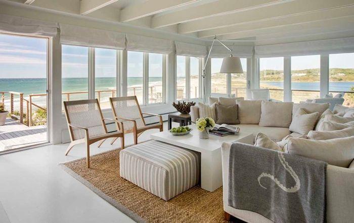 wohnzimmer decke gestalten zimmer in weiß strandvilla einrichten ideen luxuriöses interieur