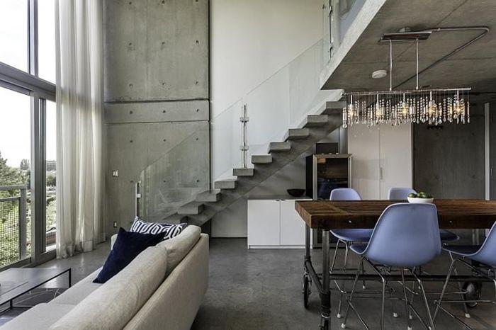 wohnzimmer decke ideen zimmereinrichtung im industrial stil zimmerdecke in beton optik