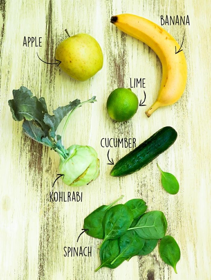 zutaten für gerichte mit kohlrabi rezept spinat banane ein apfel und kohlrabo
