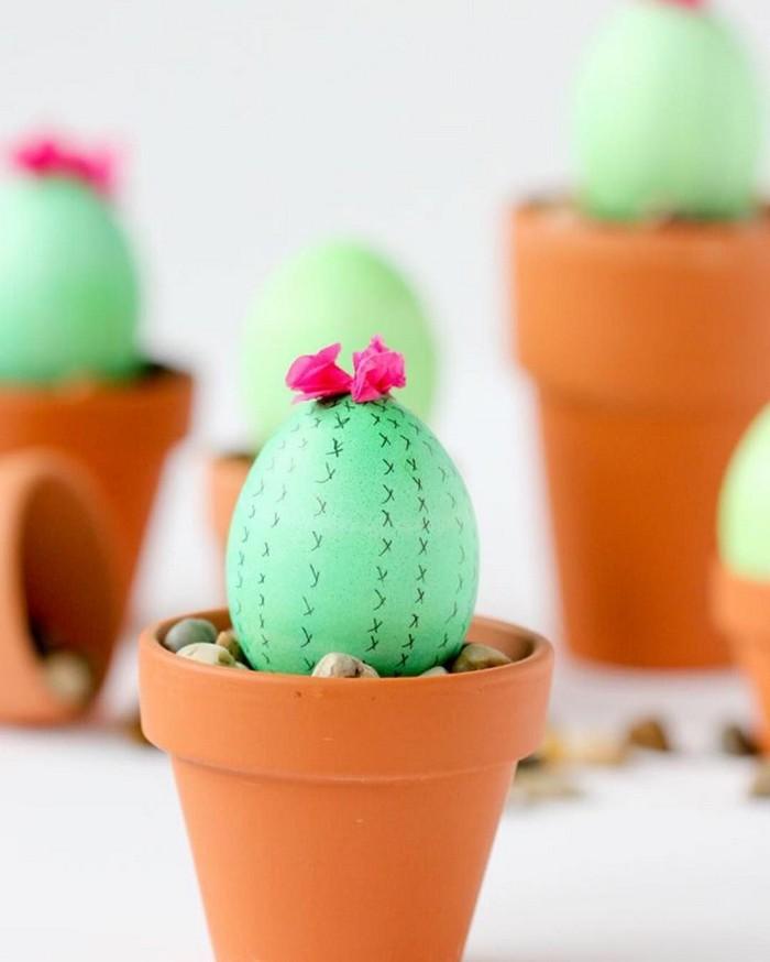 basteln mit kindern ostergeschenke basteln oster diy frühlingsbasteln mit kindern blumentöpchen mit eier kaktus grün