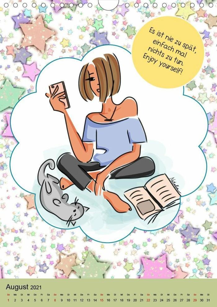 bilder die zum lachen bringen bunter kallender witzige lustige sprüche bilder kostenlos zeichnung von einem mädchen und einer katze