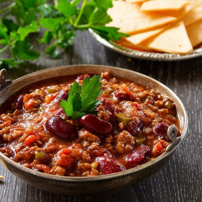 chili con soja ein gericht mit kindeybohnen und mais chili kakaopulver
