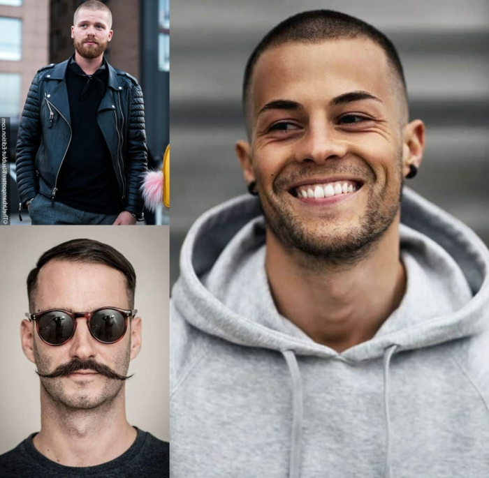 collage herren frisuren inspiration frisuren für männer sehr kurz buzz cut haarschnitt meckifrisur