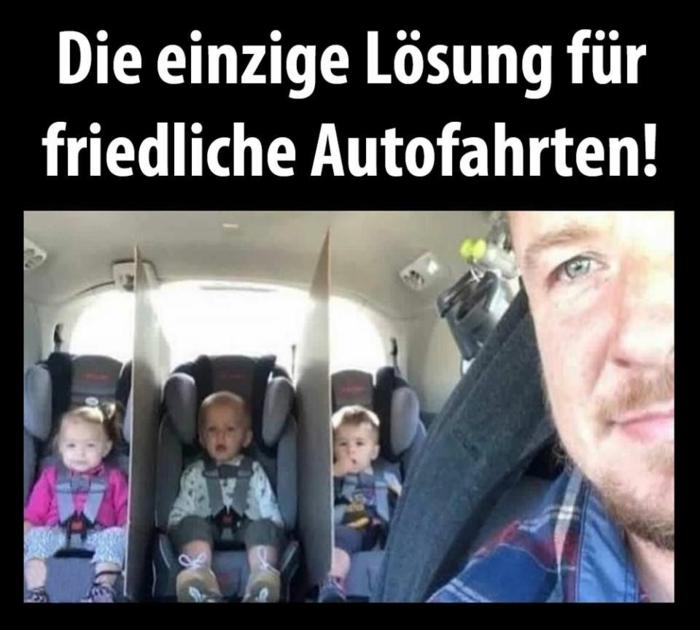 drei kinder und vater im auto witzige bilder zum totlachen eltern lösungen friedliche autofahrten witzige fotos