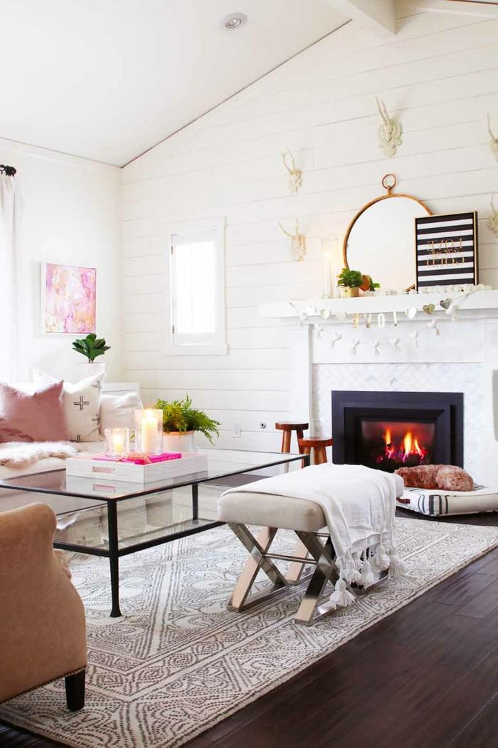 einrichten wohnzimmer im hygge style neutrale farbeinrichtung beige möbel großer glastisch