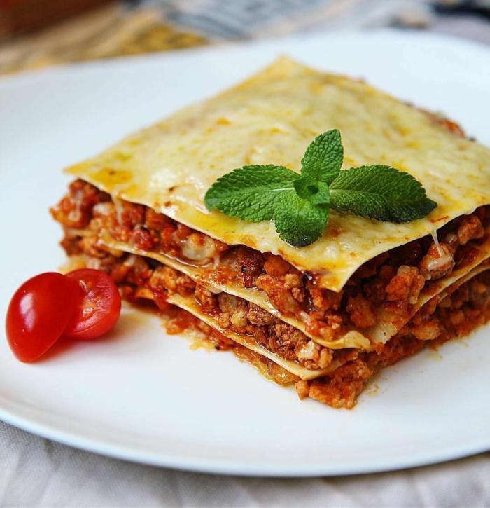 geschnittene frische tomaten lasagne selber machen rezept eine lasagne mit hackfleisch und basilikum