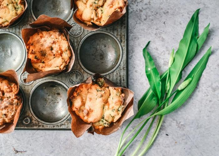 grüne blätter bärlauch rezepte bärlauch muffins formen für bärlauch