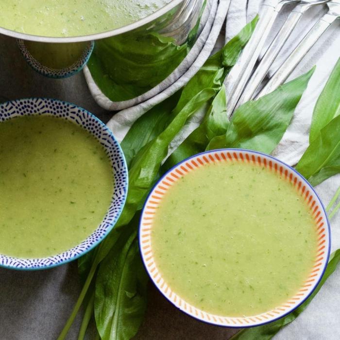 grüne frische bärlauch blätter vegane suppen egan ernähren bärlauchsuppe rezept