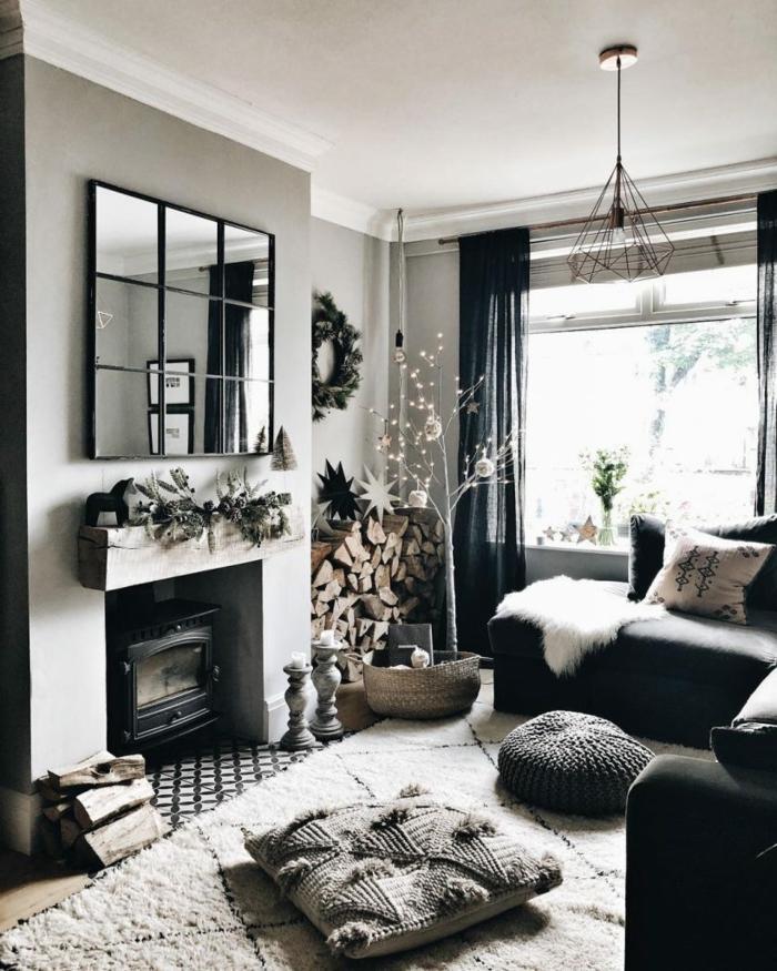 interior design schwarz graue farben wohnzimmer mit kamin was ist hygge einrichtung inspiration großer spigel
