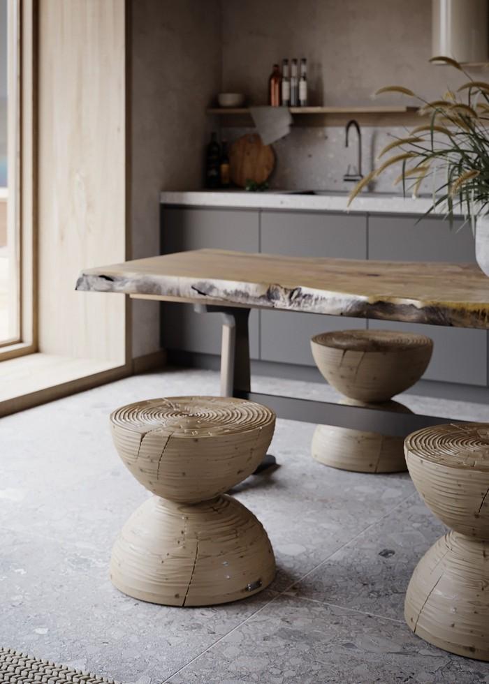japanischer einrichtungsstil japanischer minimalismus wabi sabi wohnen wabi sabi interior wohnzimmer japanischer stil wohnzimmer holztisch holz stühle hocker