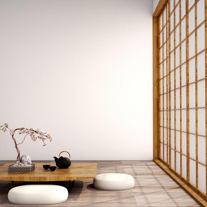 japanischer einrichtungsstil wohnzimmer japanisch einrichten wabi sabi wohnen wabi sabi interior japansiche wohnung niedriger teetisch kopfkissen am boden holzwand japanischer minimalismus