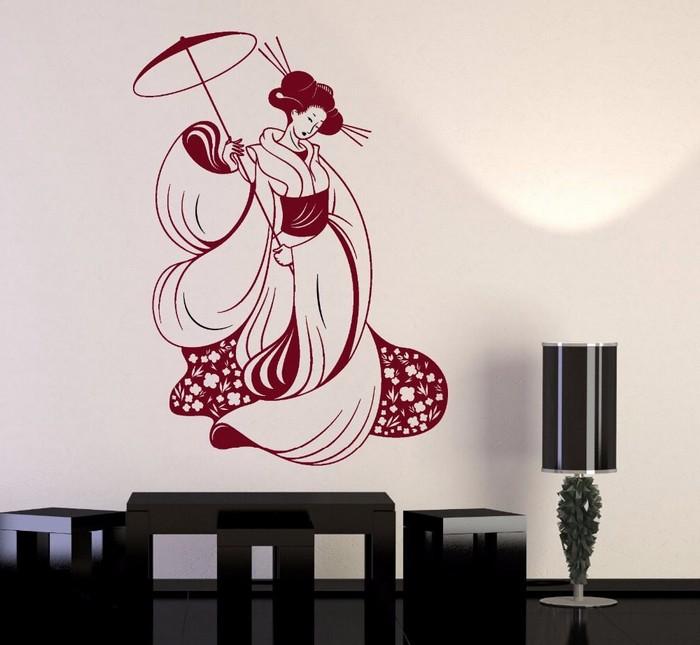 japanischer minimalismus wabi sabi wohnen wabi sabi interior wandtattoo japanische geisha wohnzimmer japanisch einrichten schwarze möbel lampe
