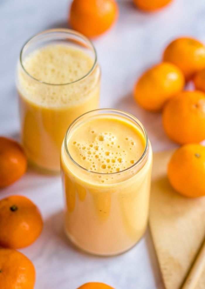 louwen ernährung ideen rezepte gesunde smoothies mit orangen und milch