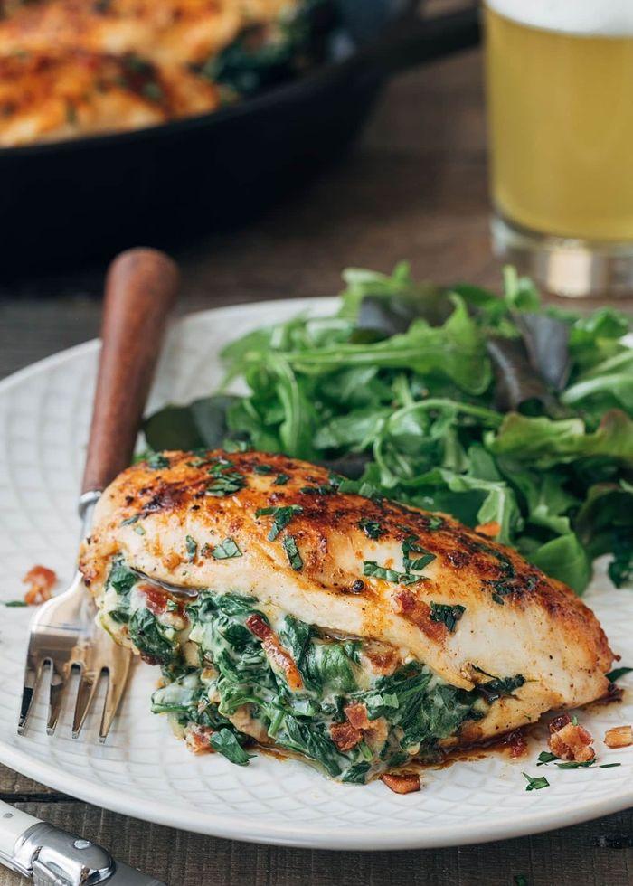louwen rezepte menü in der schwangerschaft essen ideen für schwangere hähnchenbrust mit spinat