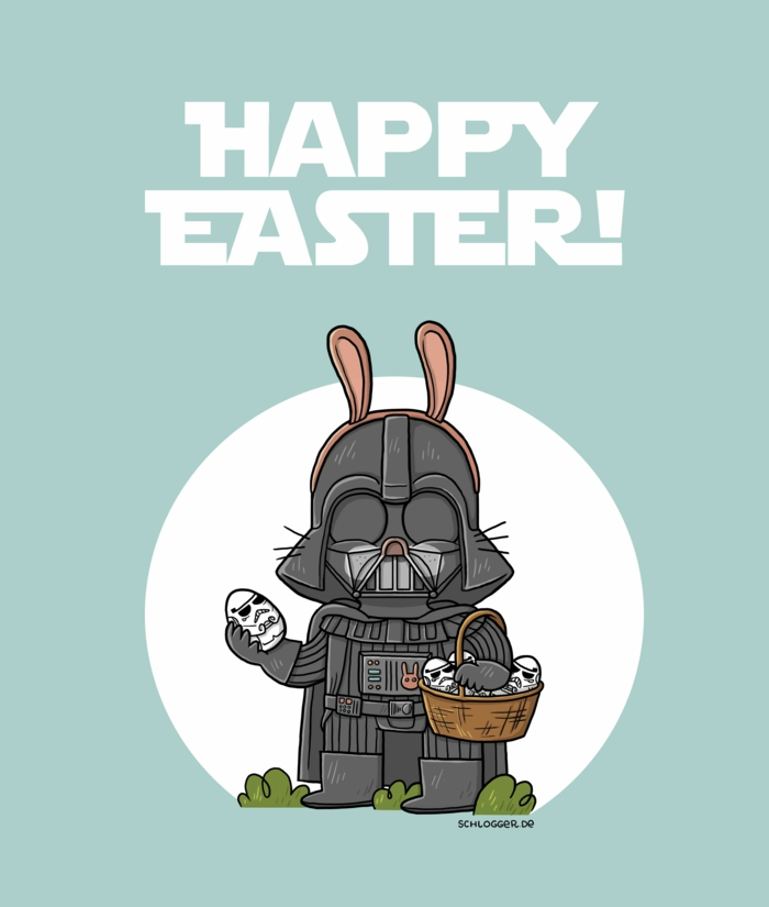 lustig frohe ostern kleiner hase als darth vader star wars cartoon happy easter wünsche