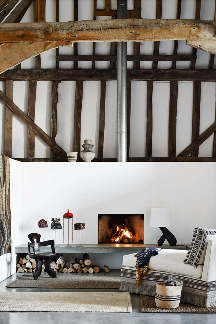 moderne holzbalkendecke großes wohnzimmer hygge einrichtung inspiration inneneinrichtung 2021 inspiration