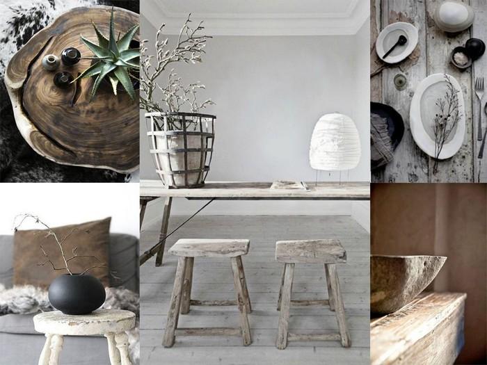 moderne japanische wohnung wabi sabi japanische inneneinrichtung wabi sabi wohnen möbelstücke und teller in japanischer stil naturfarben holz stein metal collage
