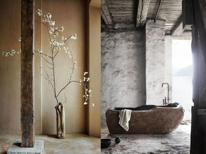 moderne japanische wohnung wabi sabi wabi sabi interior badezimmer japanische einrichtung vane aus stein bonsai pflanz holz marmor boden