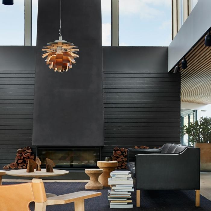 modernes luxuriöses wohnzimmer mit schwarzen wänden und sessel scandi style wohnen 2021 interior design