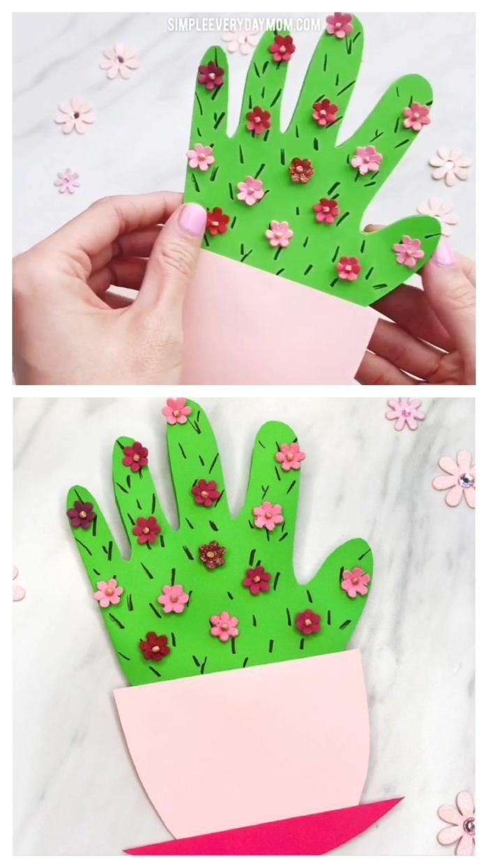 originelle karte muttertag ideen kaktus kinder handabdruck kreative bastelideen für kinder