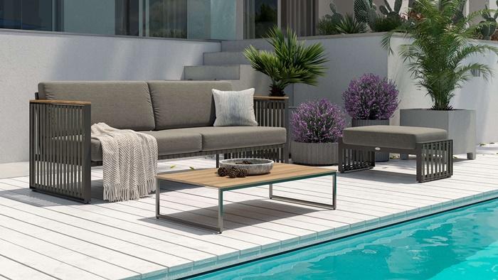 outdoor bereich außenmöbel hochwertige gartenmäbel gartensofa sofa mit grauen sitzkissen gartengestaltung ideen