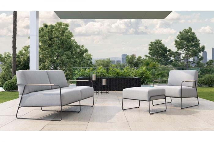 outdoor bereich gemütlich gestalten tipps ideen graue außenmäbel polstermöbel mit grauen kissen