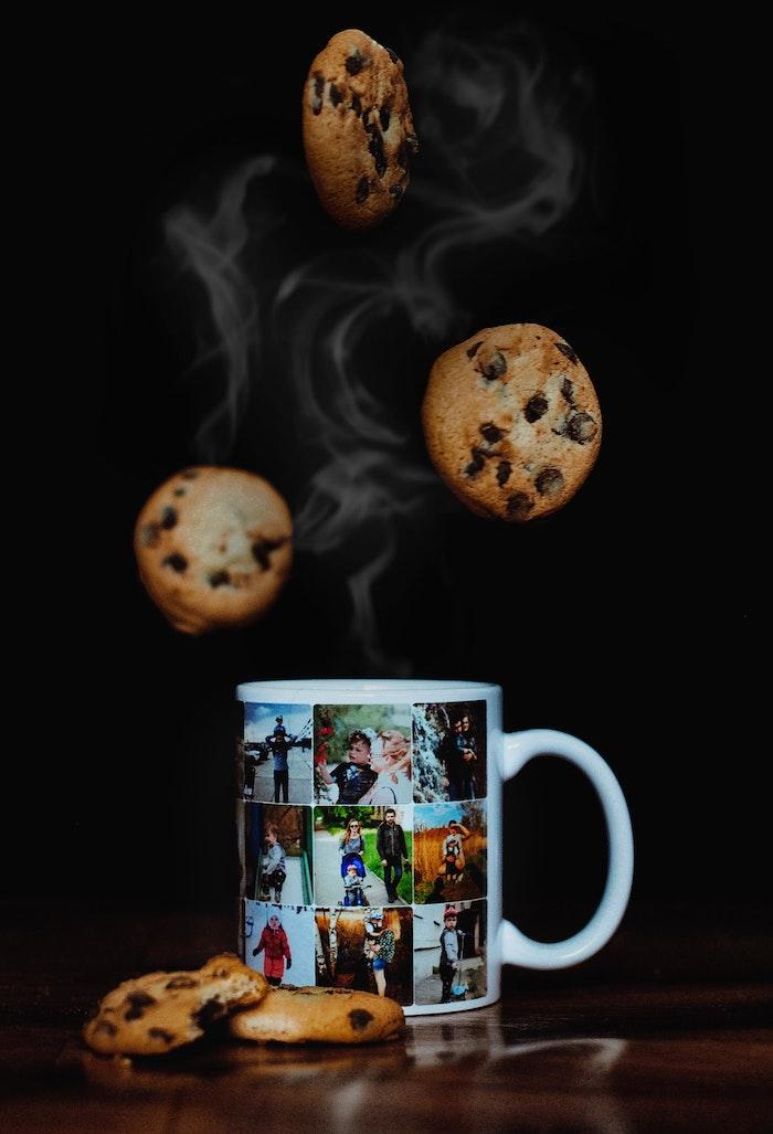 personalisiertes geschenk originelle geschenkideen für männer frauen kaffeetasse mit fotos cookies