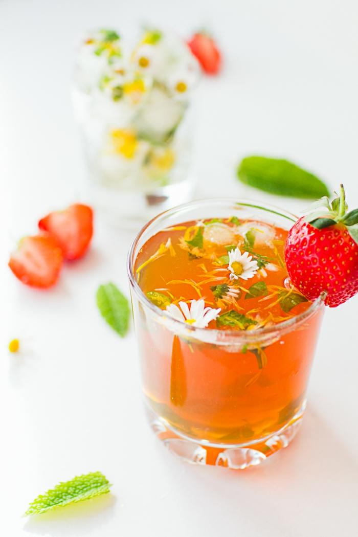 rote kleine geschnittene erdbeere eistee selber machen rezept ein glas mi eistee