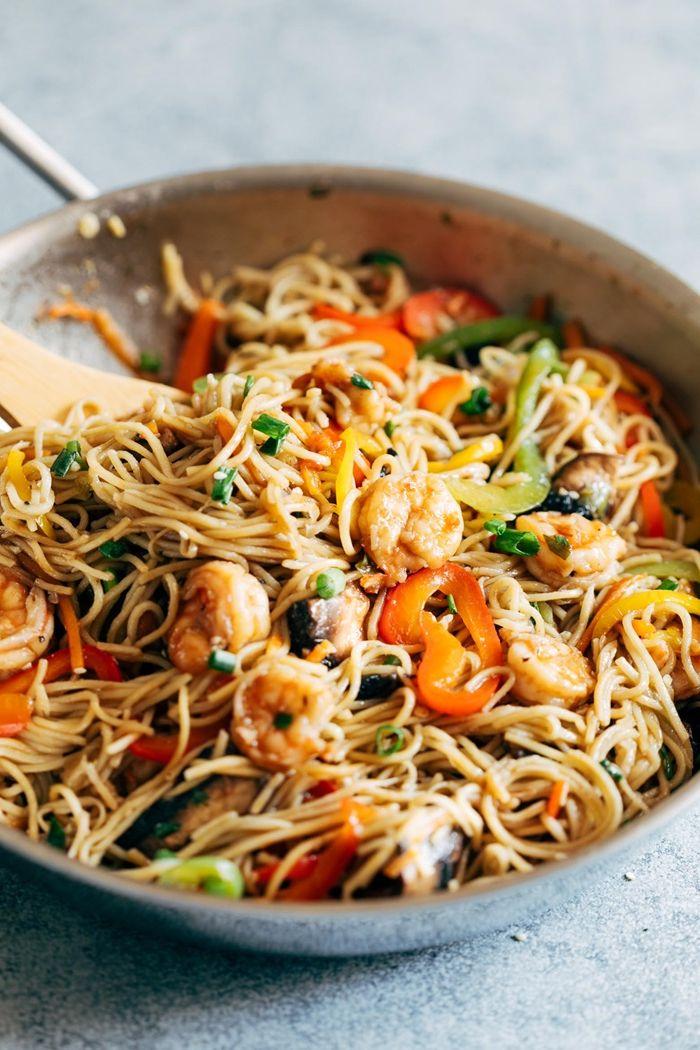 schnelle pasta rezepte gesunde gerichte nudeln mit garnelen zubereitung