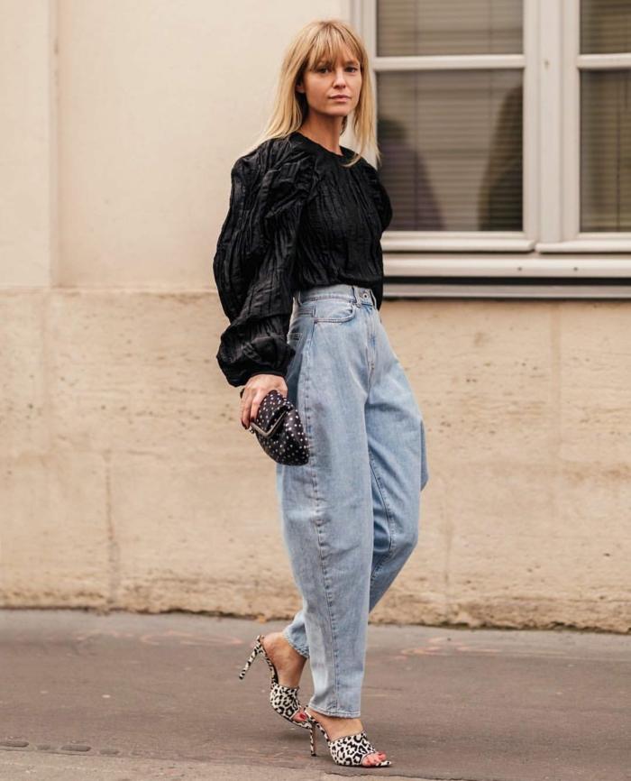 schwarze mit weite langen ärmeln wide leg jeans damen slouchy pants trend 2021 highheels mit leopard muster