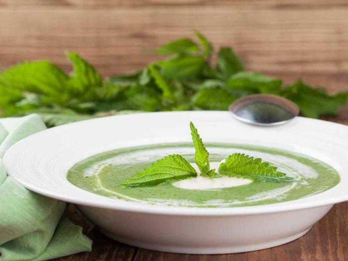 tisch aus holz eine weiße schüssel mit grüner suppe mit sahne vegan kochen