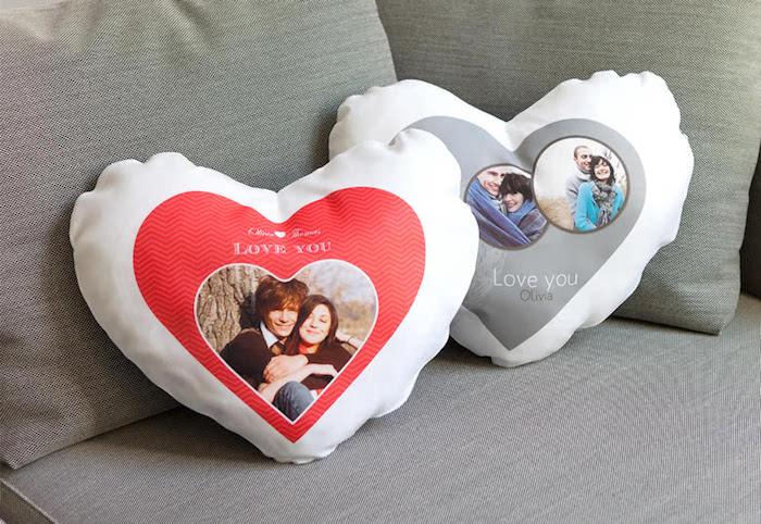 valentinstag freundin geschenke für valentinstag valentinstag geschenke für freundin kopfkissen mit fotos collagen herzförmig