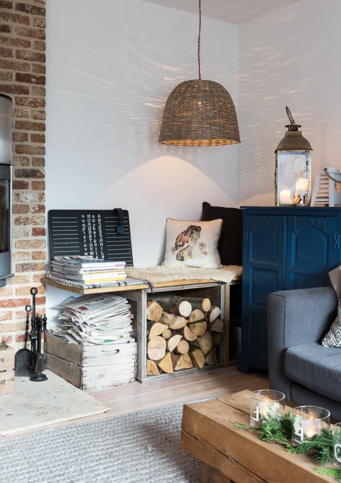 vintage blauer schrank hyggelig wohnen wohnzimmer skandinavisch einrichten inspiration und ideen