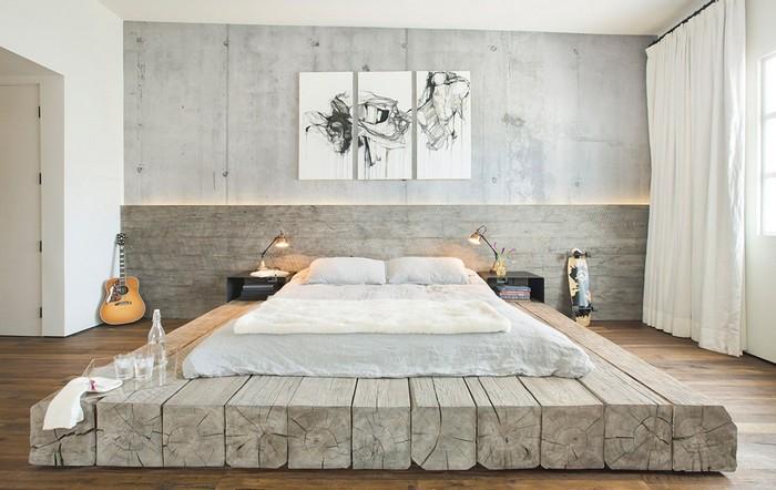 wabi sabi wohnen moderne japanische wohnung wabi sabi schlafzimmer japanischer stil bett auf holzrahmen wände in hellgrau wandcollage