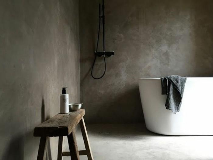 wohnung japanischer einrichtungsstil wabi sabi wohnen badezimmer wabi sabi einrichten vanne aus stein weiß holzbank graue wände