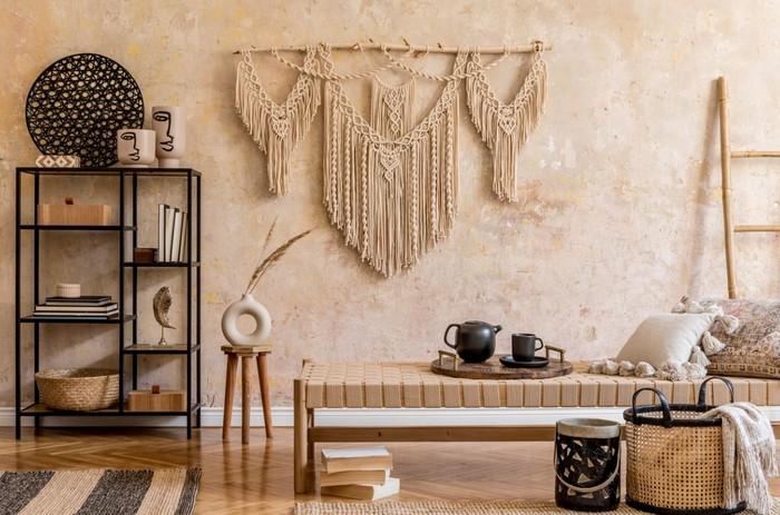 wohnzimmer japanischer stil anderes wort für puristisch moderne japanische wohnung wabi sabi interior wohnzimmer bücherregal holz minimalistisch makrame niedriges tisch