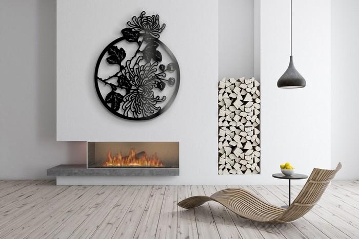 wohnzimmer japanischer stil wabi sabi interior japanischer minimalismus stroh stuhl metallampe wanddeko ornament schwarz