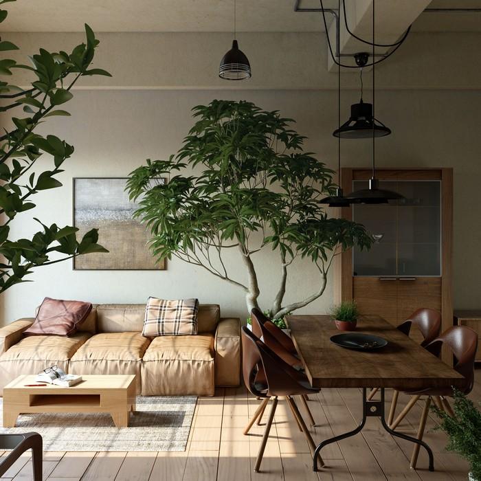 wohnzimmer japanischer still wabi sabi wohnen wabi sabi interior japanisches wohnzimmer naturfarben dunkel ledersofa große pflanze bonsai